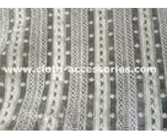 """50"""" Heavy Embroidered Net Lace Fabric White Polymide For Wedding"""