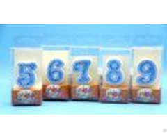 Hand Painting 0 9 Number Candle With White Edge Blue Backgrand And Yellow Star