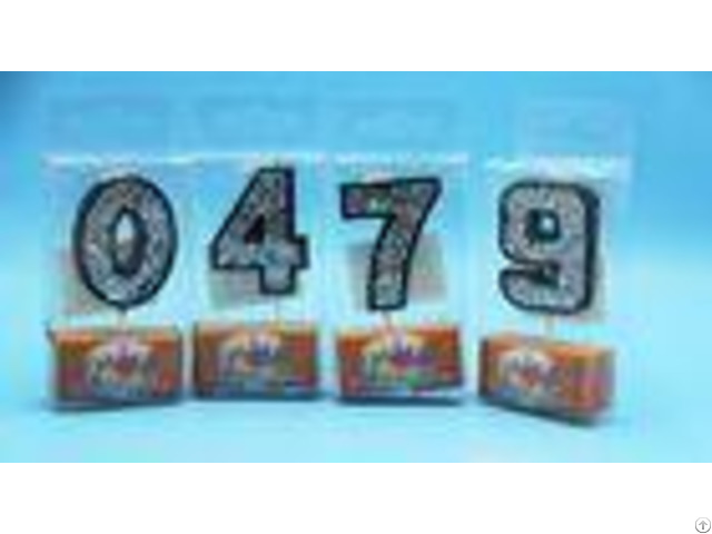 Food Grade Handmade Number Birthday Candles Black Color With Silver Laser Paillette