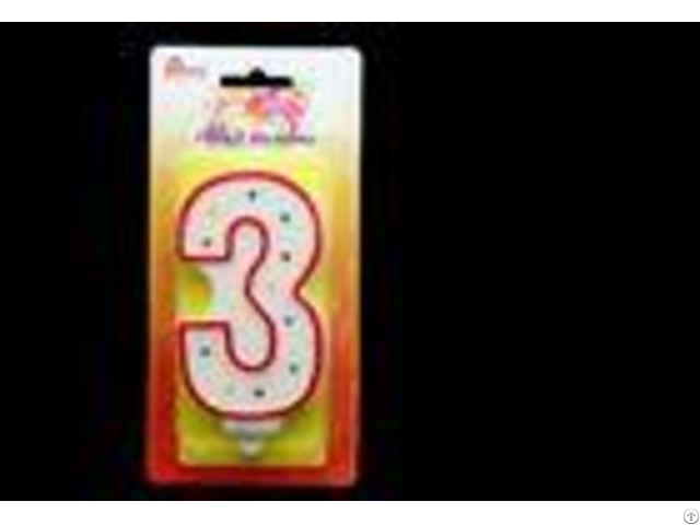 Big Number Candle Handmade Birthday Candles With Red Edge And 3 Colors Dots