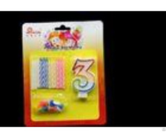 Tearless Colorful Spiral Birthday Candles Sets With Flower Holder And Number Candle