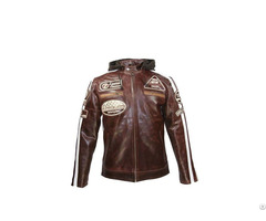 Crunch Split Brown Biker Jacket Usi 8835
