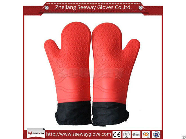 Seeway F200 Silicone Oven Mitts Extra Long Cotton Lining
