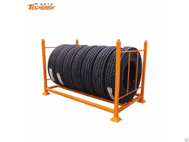 Heavy Duty Foldable Mobile Truck Tire Storage Rack