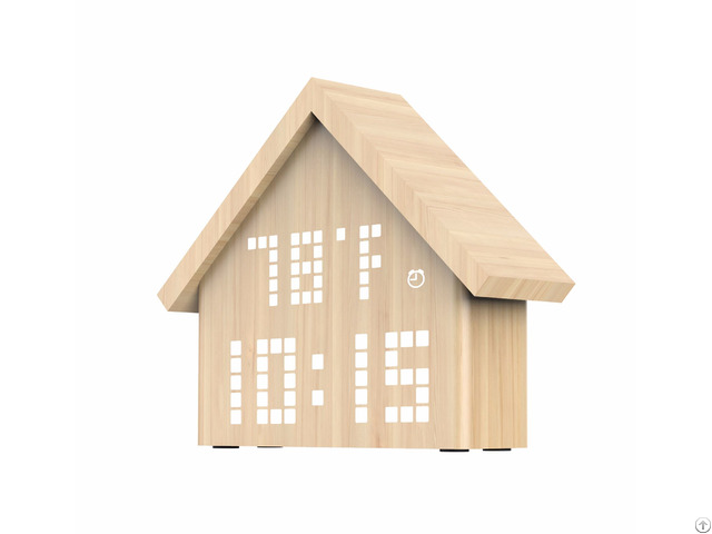Digital Wood Alarm Clock With Unique House Design And Voice Control Function