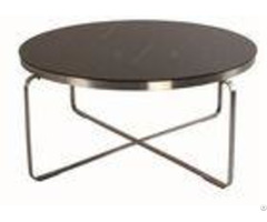 Wooden Round Size Hotel Coffee Table Stainless Steel Frame Environment Friendly