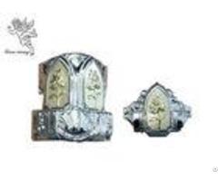 Golden Plastic Coffin Silver Flower Decoration Casket Corner With Iron Bars
