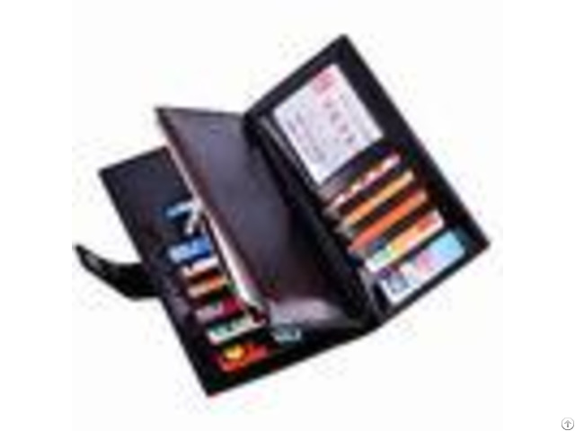 Oil Wax Leather Black Clutch Bag With Multi Card Position Thin Long Trifold Womens Wallet