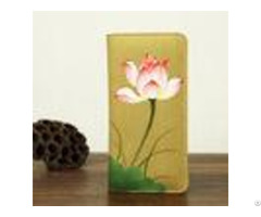 Retro Travel Khaki Leather Clutch Wallet Canvas With Hand Painted Flower