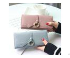 Metal Circle Belt Knot Womens Credit Card Holder Wallet Multi Functional Students Pu Leather Clutc