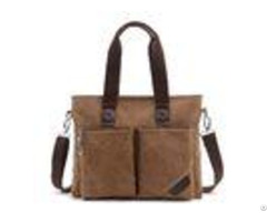 Business Retro Male Laptop Oblique Cross Shoulder Bag With 2 Front Pockets