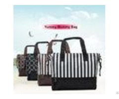 Stripe Dot Printing Zipper Breathable Baby Boy Diaper Bags For Pregnant Mother