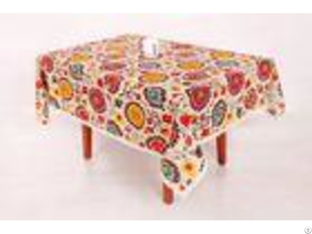 Sun Flower Pattern Custom Printed Tablecloths With Elegant Lace Trim