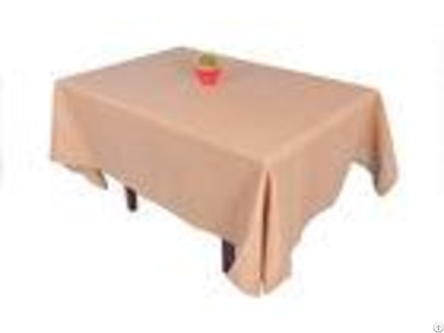 Hand Crafted Linen Hemstitch Tablecloth Brown Color For Table Decoration