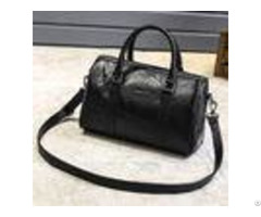 Black Cross Body Real Soft Leather Handbags Large Capacity With Padded Nylon Lining