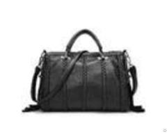 Black Cow Split Leather Fashion Ladies Handbags Tassel Weaving Decoration