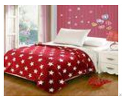 Red Five Pointed Star Flannel Fleece Blanket With Customized Designs