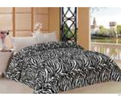 Zebra Pattern Full Bed Comforter Set With Printed Flannel Fleece Front