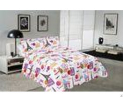 Modern Style Printed Quilt Set With Classic Ticking Printing For Bedrooms
