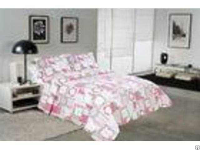 White And Pink Printed Quilt Set 100 Percents Cotton For Household Bedroom