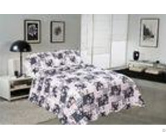 Blue Square Printed Quilt Set Machine Washing In Cold Water Separately For Family