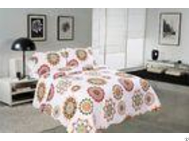 Sun Flower Pattern Printed Quilt Set Needle Punched Cotton Bedspread And Coverlet