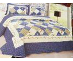 Blue Checkered Home Bed Quilts Soft Touch For Indoor Household Decoration