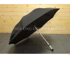 Wind Releasing Straight Handle Umbrella For Business Men Black Coated Metal Frame