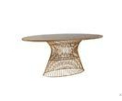 "Real Wood Oval Coffee Table 70w 38 25d 30h"" With Golden Bronze Metal Base"