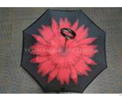 Durable Creative Reverse Folding Umbrella With Flowers Inside Manual Open
