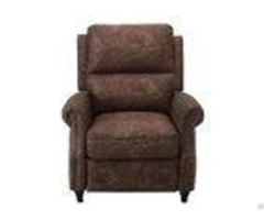 Modern Brown Push Back Recliner Chair Lounge Area With Patterned Fabric