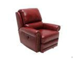 Oversized Red Leather Motion Recliner Chair Entertainment Room With Cup Holder