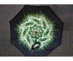 Green C Shape Handle Reverse Folding Umbrella That Open Inside Out Fiberglass Frame