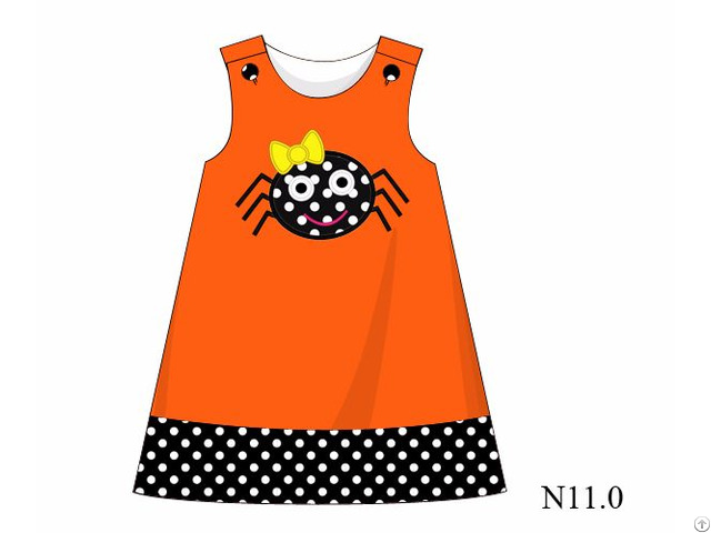 Adorable Spider Applique A Line Dress For Girl Bb706