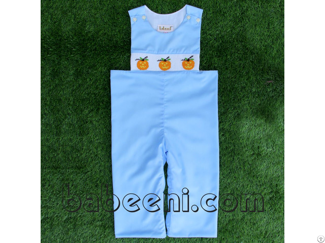 Pumpkin Smocked Longall For Baby Boys Bb332