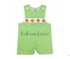Nice Pumpkin Smocked Shortall For Baby Boys Bb322