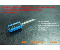 Ymin Miniature Radial Aluminum Electrolytic Capacitor For Small Led Driver