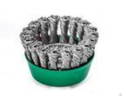 Weld Cleaning Knotted Wire Cup Brush Green Body 3 Inch Od With M10 Nut