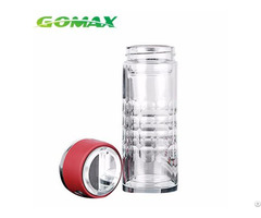 Fashion 350ml Transparent Vacuum Double Glass Silicone Infuser Hydrogen Water Bottle With Built In