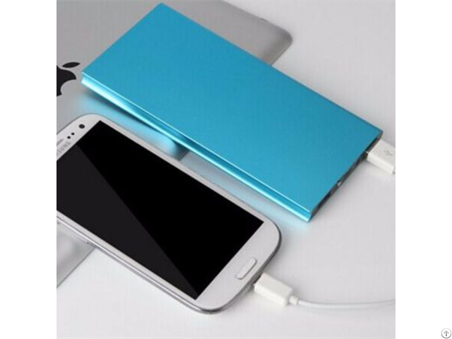 New Ultra Thin Metal Case 8000mah Polymer Battery Charger Dual Usb Power Bank For Smartphone