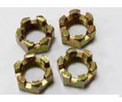 Non Standard Fastener Hexagon Slotted Nut Yellow Zinc Plated For Truck Spare Parts