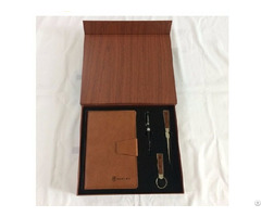 Notebook With Pen And Letter Opener Keychain In Wood Grain Gift Box For Vip