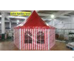 Six Sides Red And White Pvc Cover Outdoor Pagoda Marquee With Transparent Windows