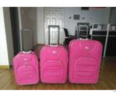 Pink Eva Trolley Luggage 3 Pieces Set With 8 Transparent Wheels Azo Certification