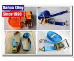 Pe Webbing Ratchet Strap Parts Cargo Lashing Straps With Hooks 50mm