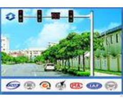 Material Q345 Traffic Signal Pole 6m Height With 11m Single Arm 20 Years Warranty