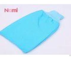 Viscose Morocco Exfoliating Bath Gloves Printed Logo Blue Color Customized Size