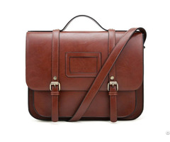 Women Briefcase Vintage Crossbody Messenger Bag Pu Leather Satchel Purse