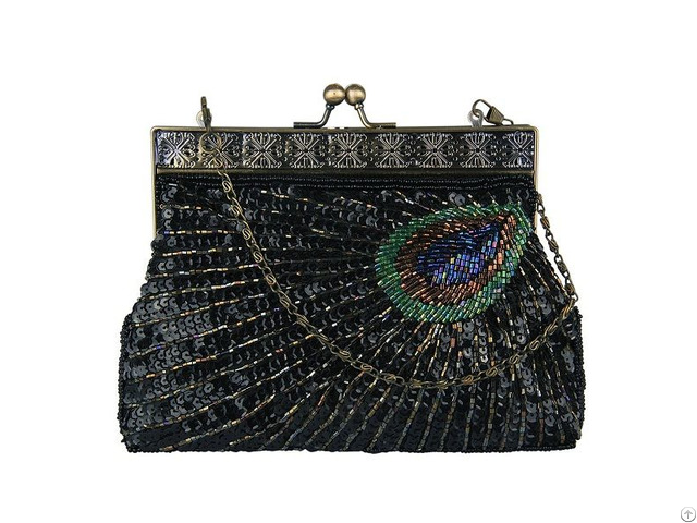 Vintage Clutch Teal Peacock Antique Beaded Sequin Evening Handbag Sunburst Navy And Turquoise Purse