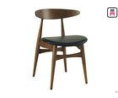 Curved Back Wood Restaurant Chairs Black Leather Seats With Hansen Design